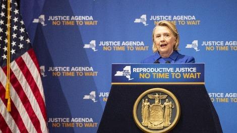 希拉里在纽约发表演说 呼吁保护妇女堕胎权