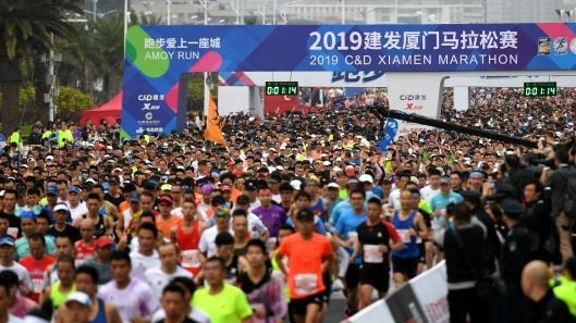 2019厦门马拉松赛开跑 埃塞俄比亚选手包揽男女前三名