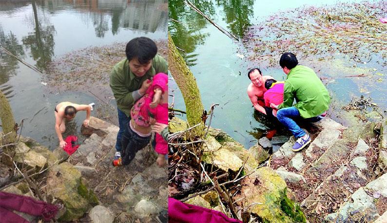 零下1℃,扶贫队长跳进水塘救人