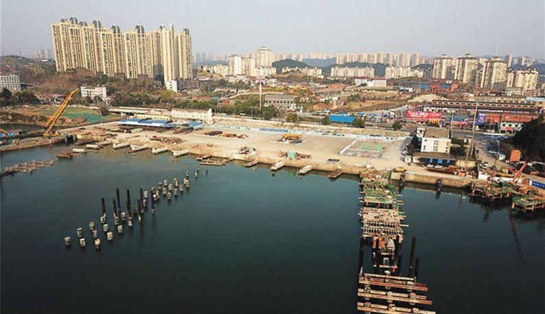 宜昌三峡国际游轮中心码头建设过半