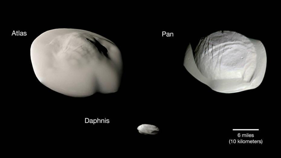NASA公布5颗土星小卫星 外型似悬浮茶托和马铃薯