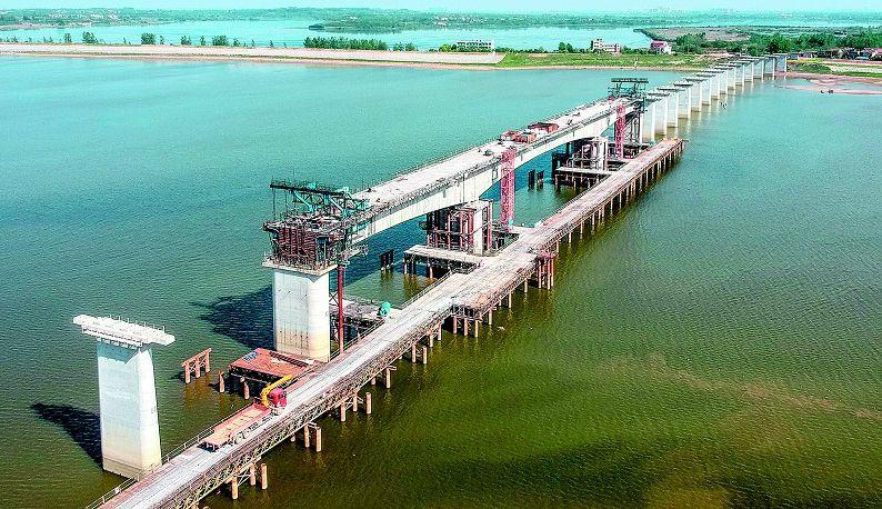 倒水河大桥最长连续梁浇筑完成