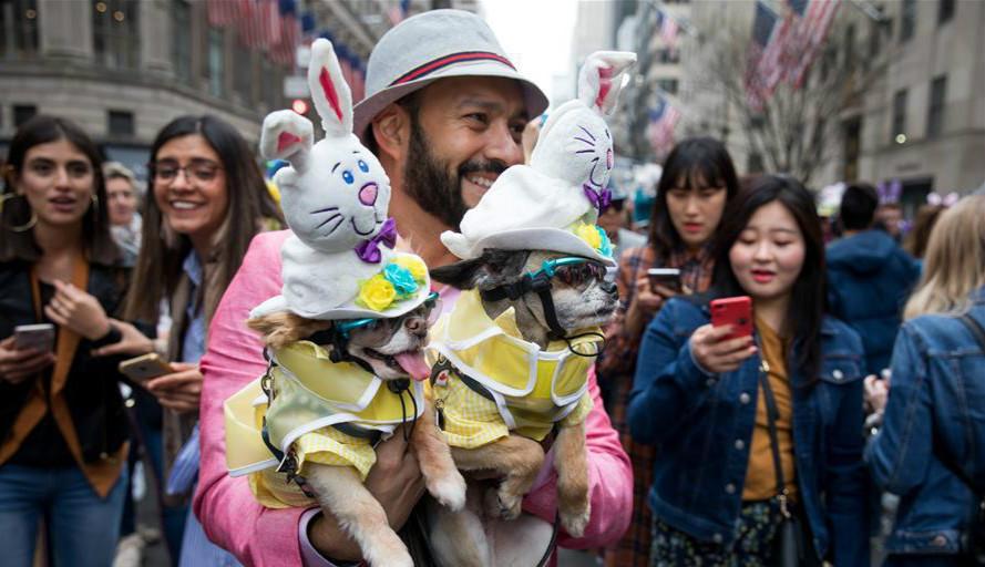 纽约:?#22836;?#33457;帽庆祝复活节