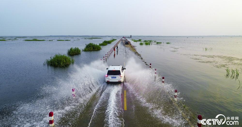 """鄱阳湖水位上涨 再现""""最美水上公路"""""""