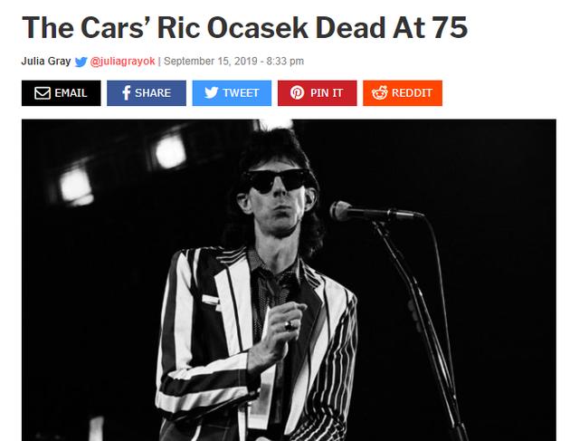 """The Cars乐队主唱Ric Ocasek逝世 享年75岁"