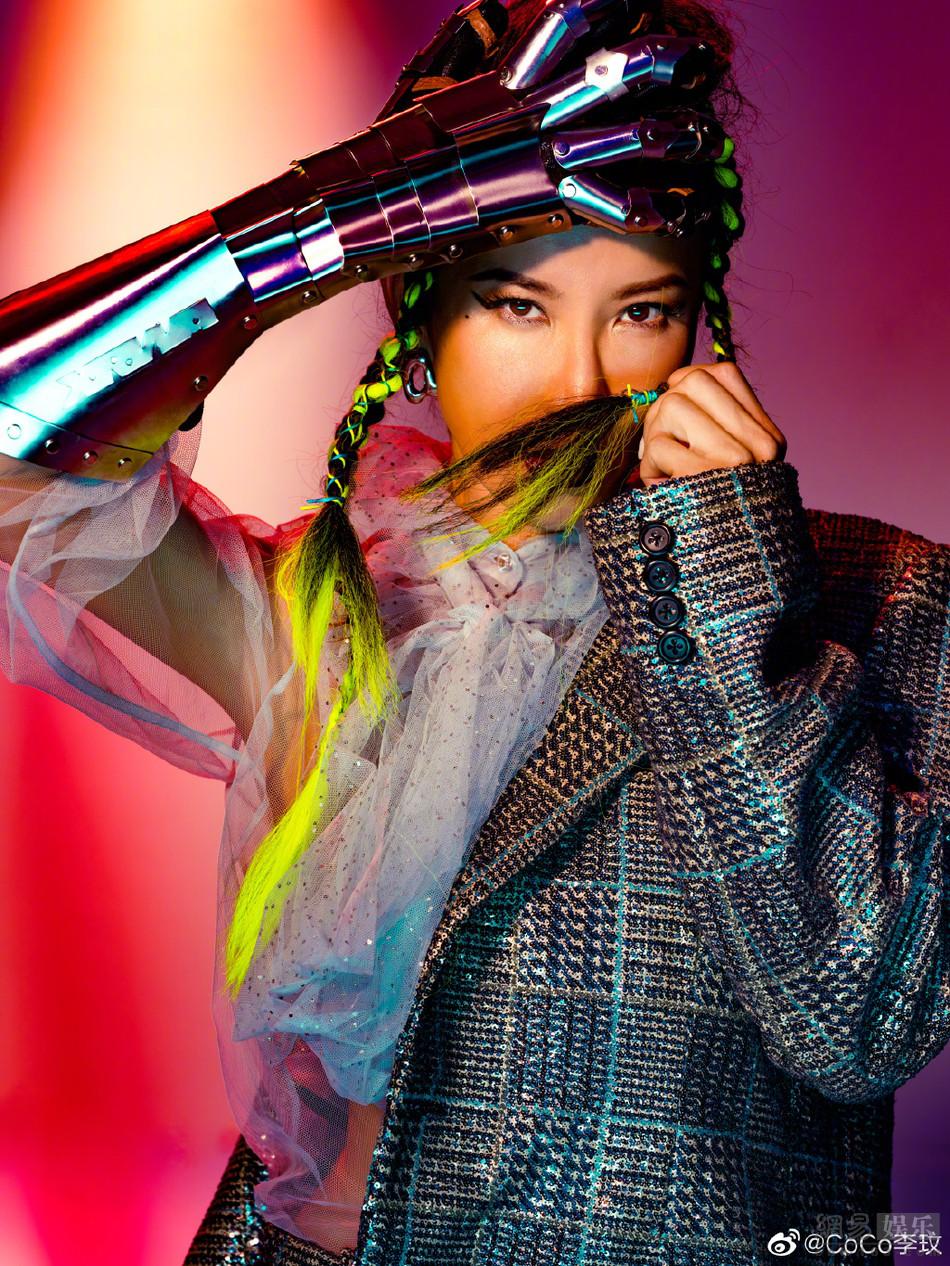 李玟绿发脏辫吸睛 换齐刘海丸子头服装炫酷图片