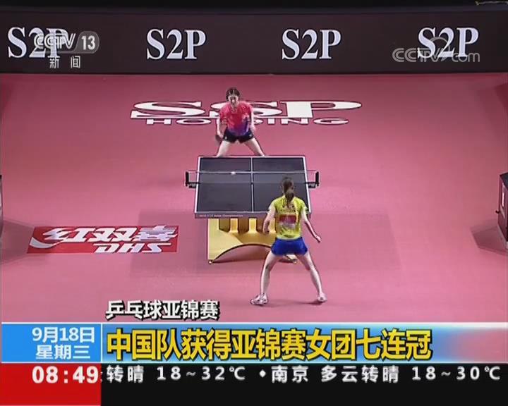 中国队获得亚锦赛女团七连冠