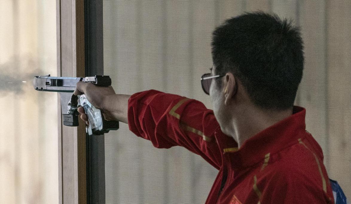 首金!中国队获得武汉军运会男子25米手枪军事速射团体冠军