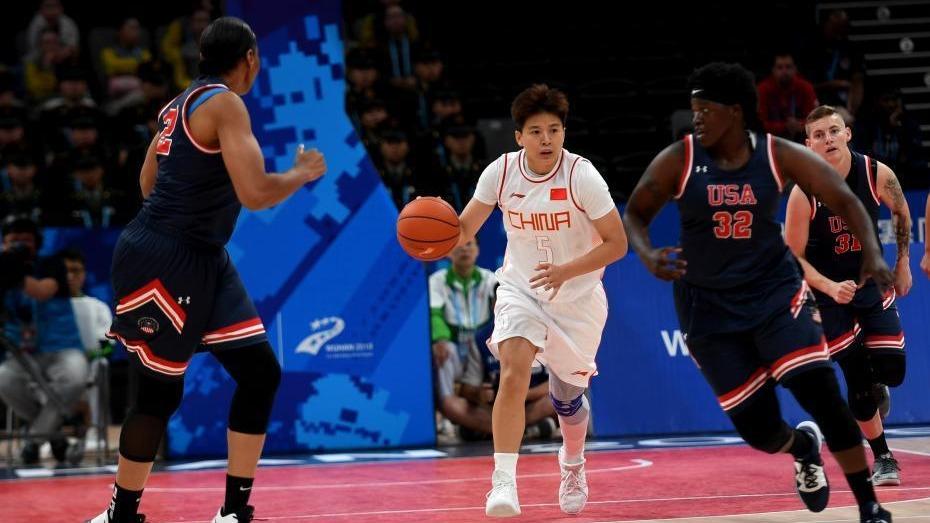 武汉军运会 中国八一女篮以119:71击败美国队