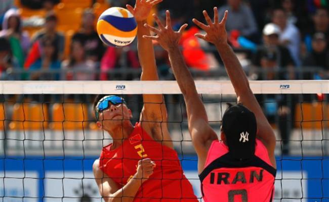 军运会男子沙排小组赛 中国2:0战胜伊朗