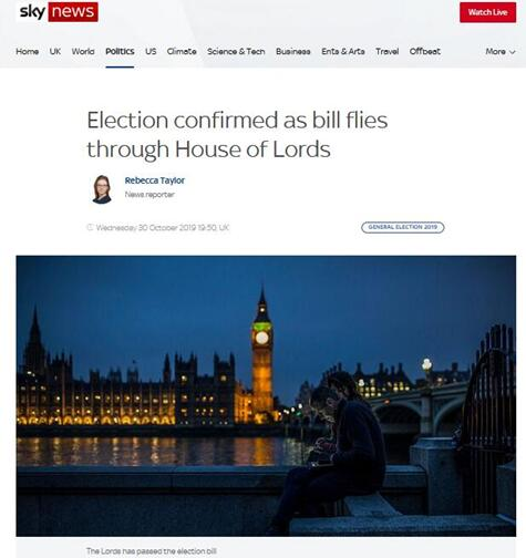 """""""英国上院投票批准""""双十二""""大选,议案将提交女王批准"""