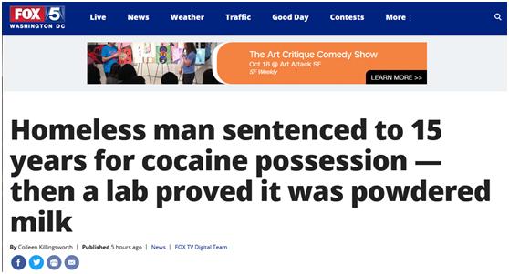 """""""乌龙!错把奶粉当""""可卡因"""",美一男子被判15年"""