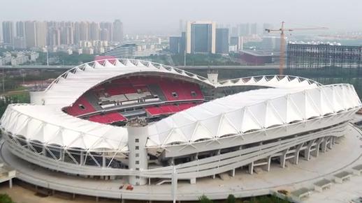 鸟瞰武汉体育中心 炫美如大地桂冠