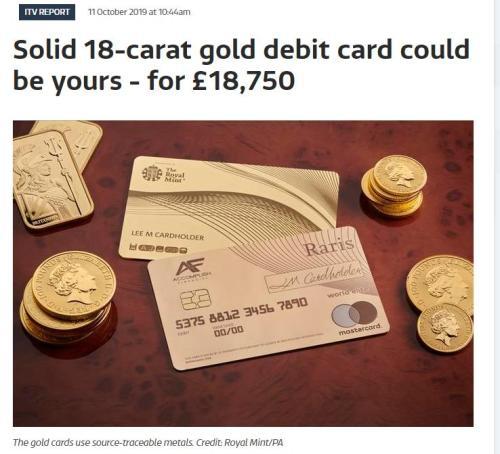 英推出世界首張純金銀行卡 1.87萬英鎊抱回家!