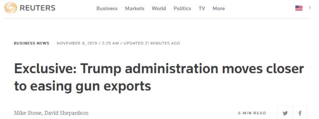 """""""外媒:美国政府将进一步放宽枪支出口,最快今年年底实施"""