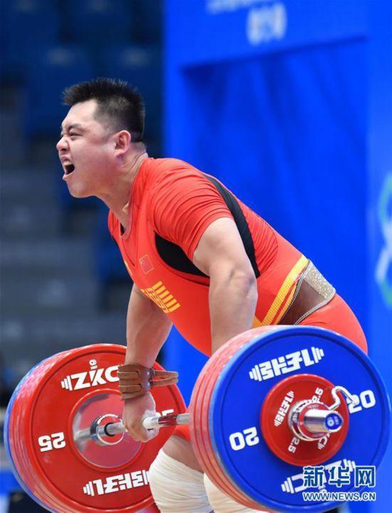举重世界杯赛:杨哲获男子109公斤级抓举和总成绩冠军