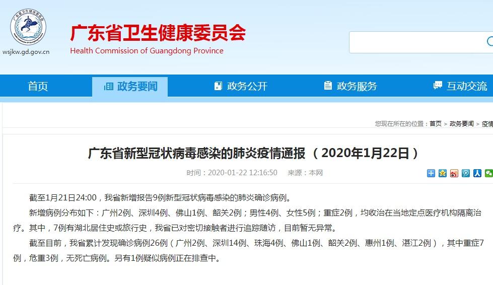 广东新增9例、浙江新增5例新型肺炎确诊病例