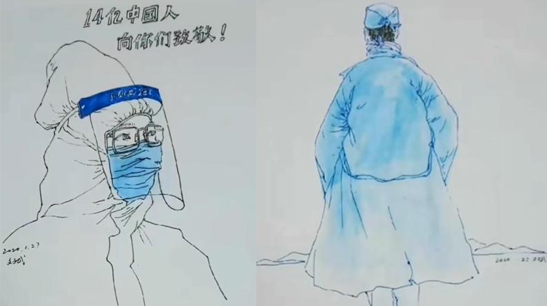 """黄冈市民手绘""""战疫""""英雄群谱,一周内创作20多幅"""