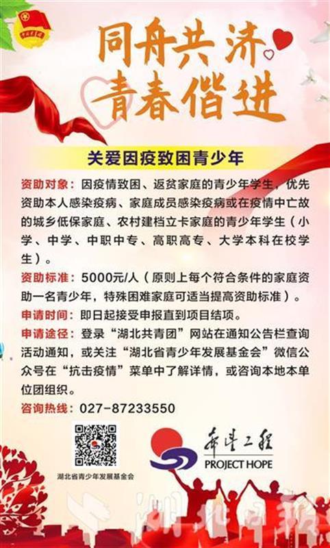 等你申报!团湖北省委为感染疫病青少年学生资助爱心包(图2)
