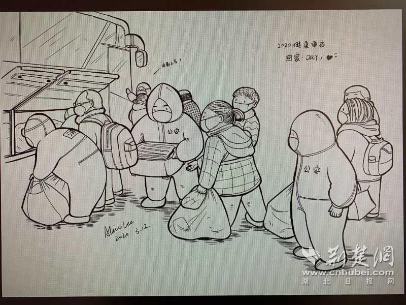 """美术生用插画记录警民战""""疫""""暖人瞬间(图4)"""