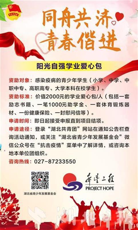 等你申报!团湖北省委为感染疫病青少年学生资助爱心包(图3)