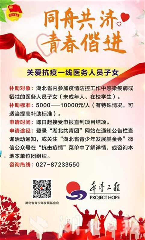 等你申报!团湖北省委为感染疫病青少年学生资助爱心包(图1)