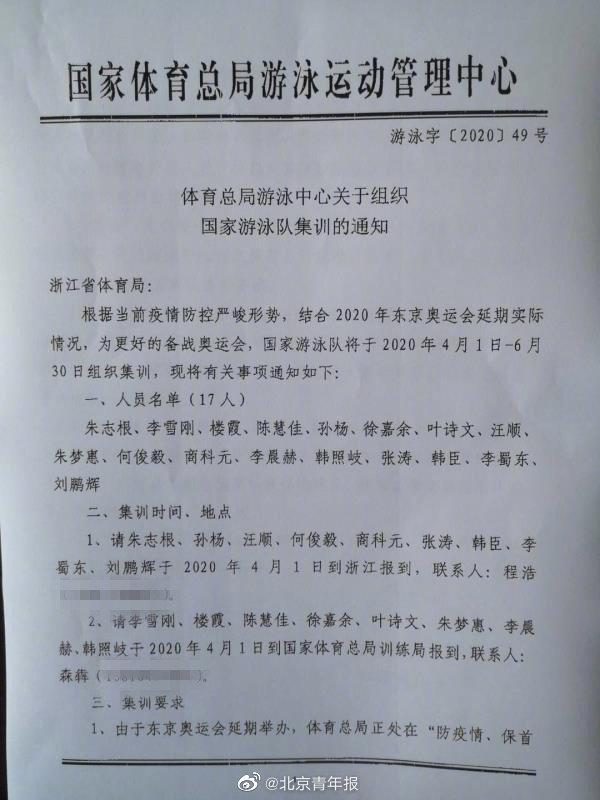 孙杨入选中国游泳队奥运集训名单 暂时在浙江训练