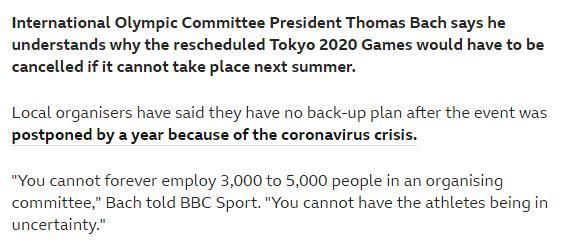 国际奥委会主席巴赫:东京奥运若无法如期将被取消