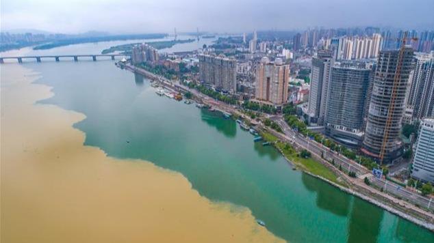 """雨后汉江现""""泾渭分明""""景观"""