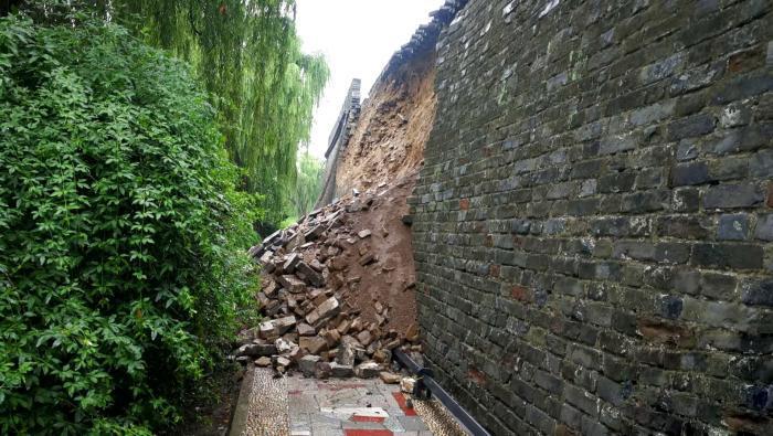襄阳古城墙墙体局部垮塌 已开展抢险保护