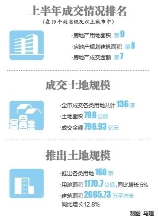 上半年武汉成交房地产用地面积19城中排第九 全国百强房企入驻加速