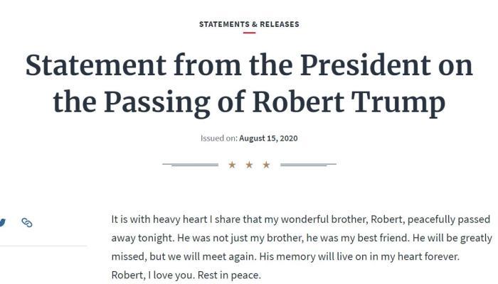 白宫:美国总统特朗普弟弟罗伯特·特朗普去世