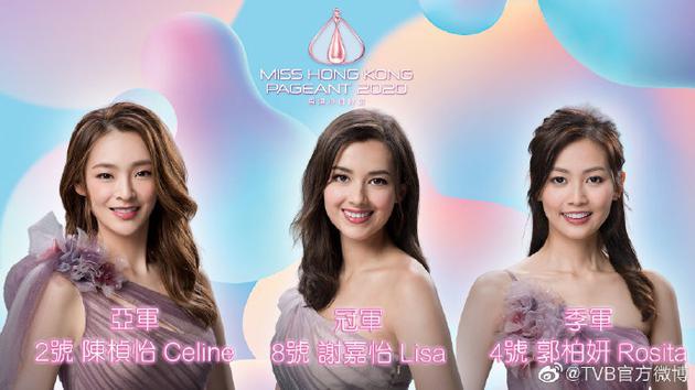 2020香港小姐决赛三甲出炉 谢嘉怡勇夺冠军