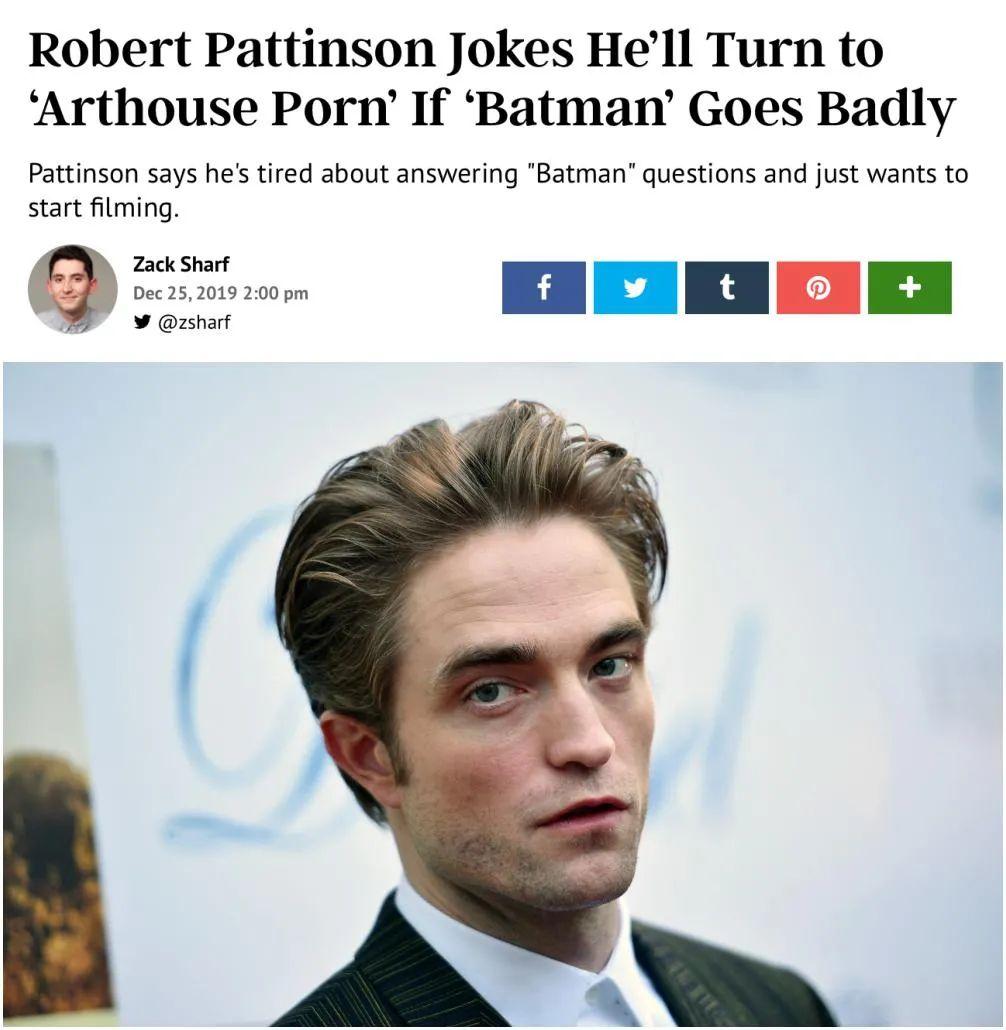 《蝙蝠侠》男主罗伯特·帕丁森确诊新冠 电影停拍