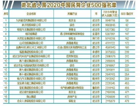 中部第一!湖北19家企业入围中国民企500强