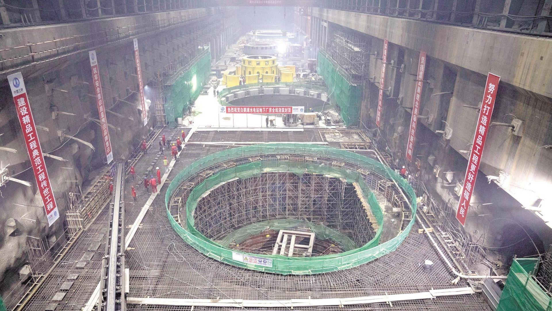 白鹤滩水电站右岸地下厂房封顶