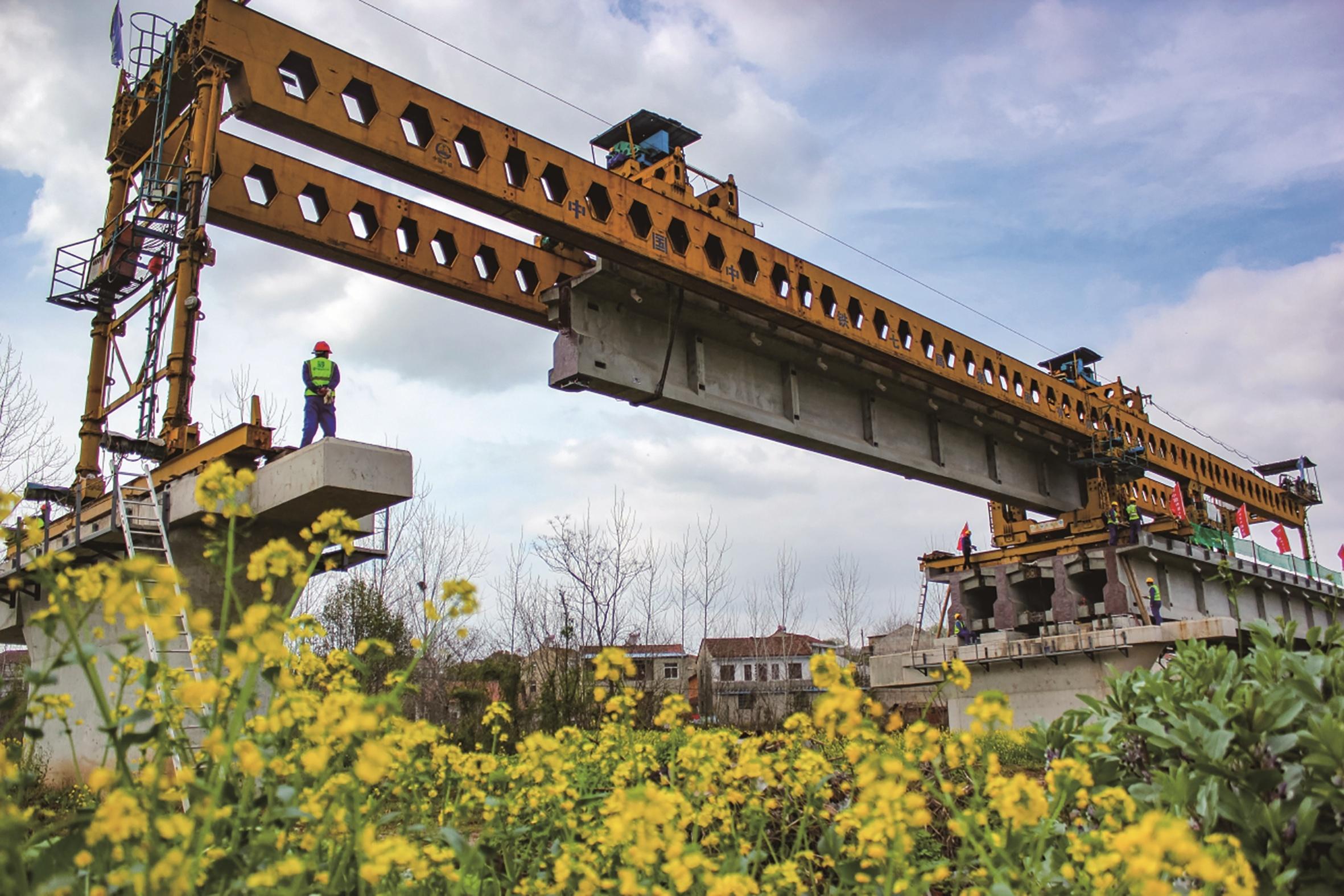 倒水河特大桥架梁完成