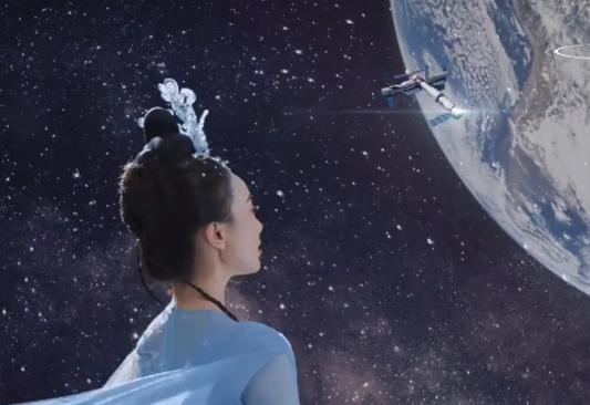 嫦娥玉兔与探月宇航员隔空互动