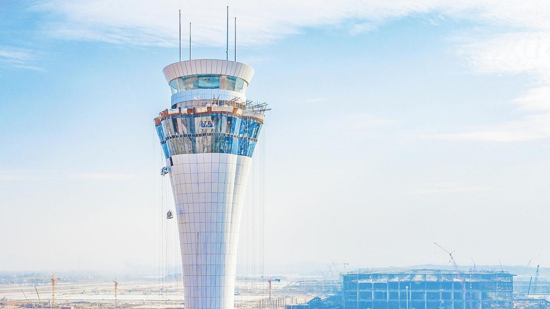 展露新颜!鄂州花湖机场空管塔台工程收尾