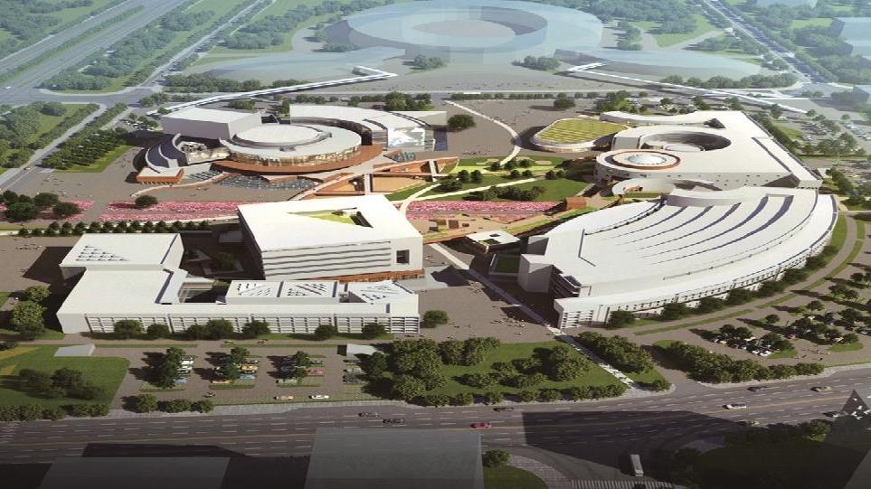 东西湖文化中心两座天桥对接五环体育中心
