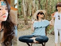 刘亦菲与家人度假晒合影 对镜搞怪少女感爆棚
