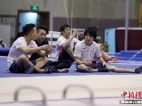 中日男子体操队在北京进行公开训练