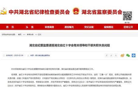 湖北省纪委监委通报湖北省红十字会有关领导和干部失职失责问题