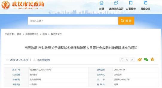 武汉调整城乡低保和特困人员等社会救助对象保障标准